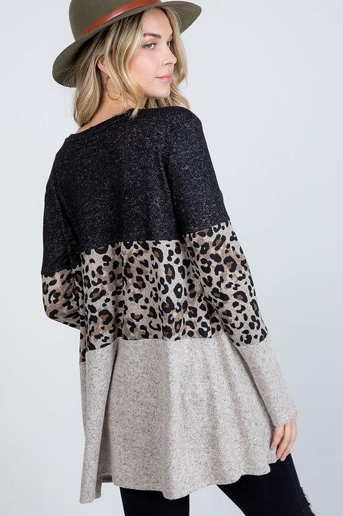 Lacy Leopard Print Color Block Top