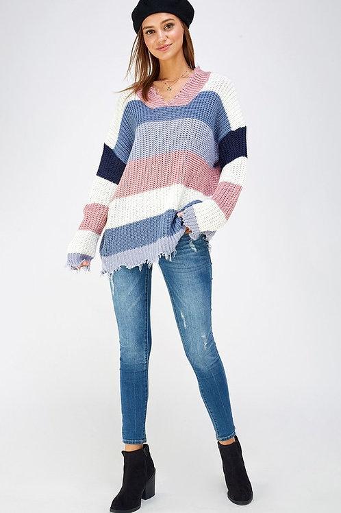 Laura Beth Frayed Hem Striped Sweater
