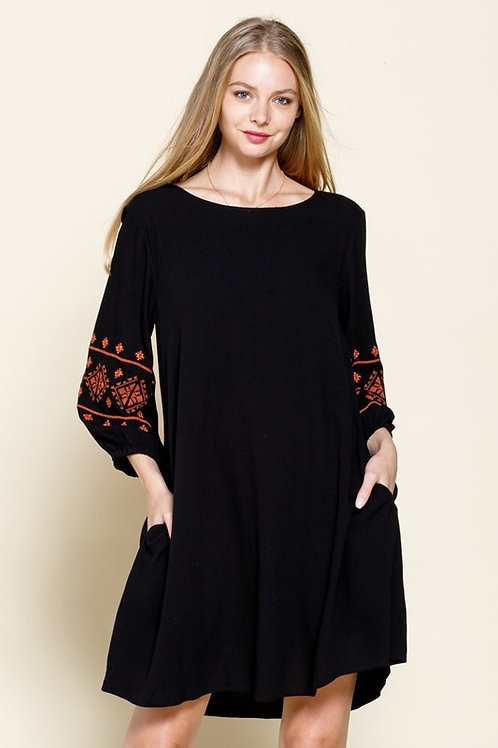 Brielle Embroidered Sleeve Dress