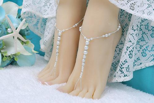 Calista - Youth Silver Pearl Rhinestone Sandal