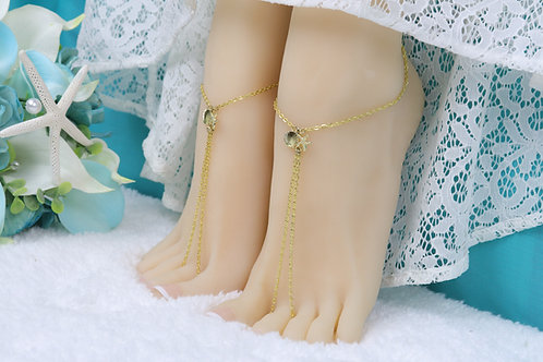 Alora - Gold Starfish Shell Chain Barefoot Sandals
