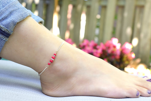 Anklet - Silver Chain Red Pearl