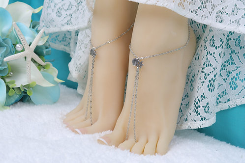 Alora - Silver Starfish Shell Chain Barefoot Sandals