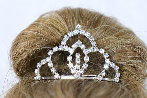 Tiara - Silver Princess Rhinestone Hair Comb