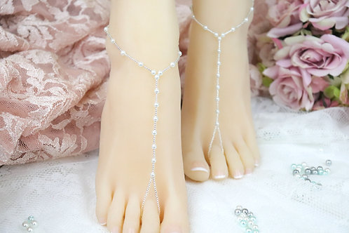 Summer - Crystal Bead Pearl Barefoot Sandal