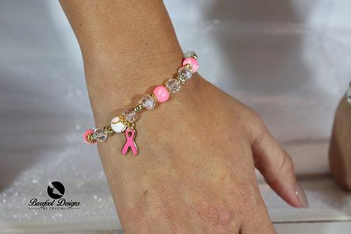 Pink & Gold Pearl Crystal Breast Cancer Bracelet