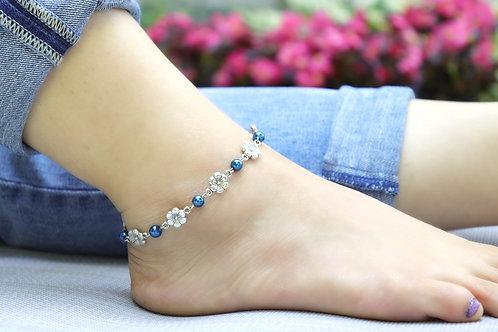 Anklet - Blue Silver Flower