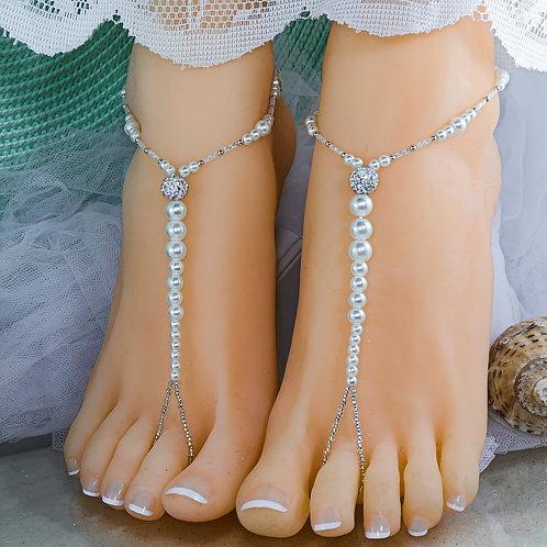 Elena II - Pearl Barefoot Sandal