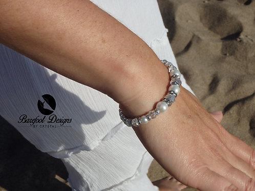 Silver Crystal Pearl Rhinestone Bracelet