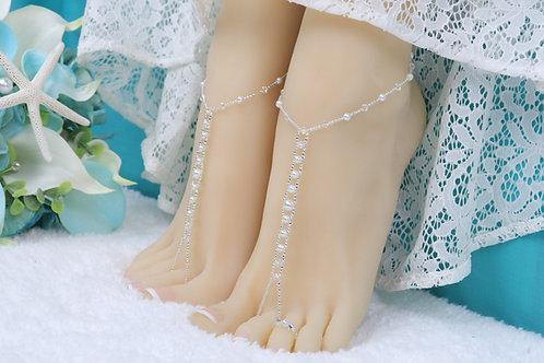 Leah II - Pearl AB Crystal Barefoot Sandal