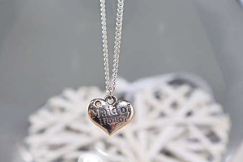 Necklace - Silver Maid Of Honor Charm