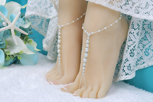 Bianca - Pearl Rhinestone Barefoot Sandal