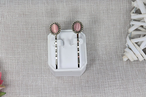 2 PC Hair Pin Set - Antique Silver Pink Cats Eye