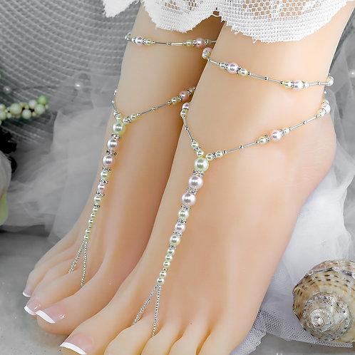 Leah - Ivory Pearl Barefoot Sandal