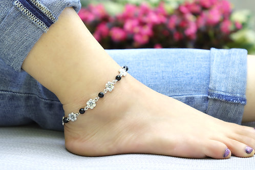 Anklet - Black Silver Flower