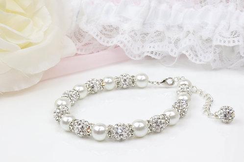 Sadie - Pearl Rhinestone Bracelet