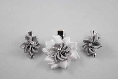 Silver - Satin Flower Hair Clips 3 PC Set