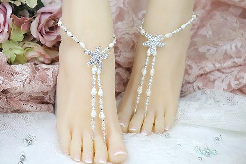 Andrina - Real Shell Starfish Barefoot Sandal