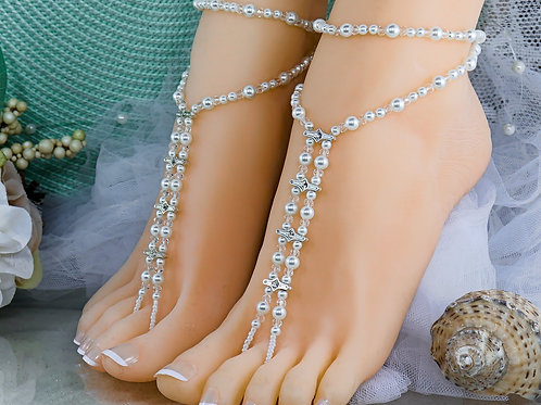 Kaitlyn - Crystal Barefoot Sandal with Anklet