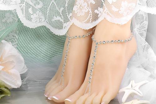Evelyn - Silver Crystal Rhinestone Barefoot Sandal