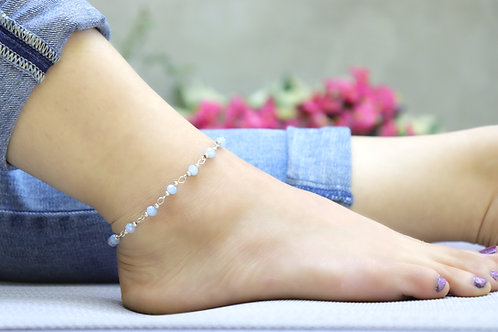 Anklet - Blue Silver Bead