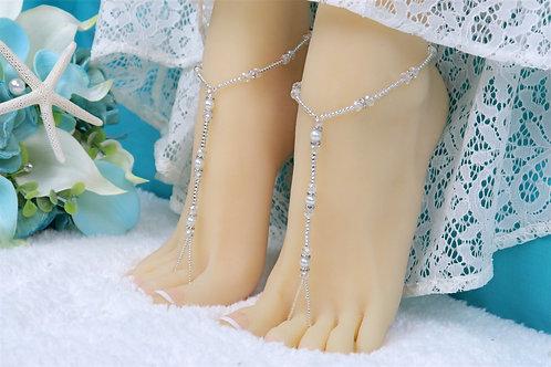 Nani II - Silver Crystal Barefoot Sandal