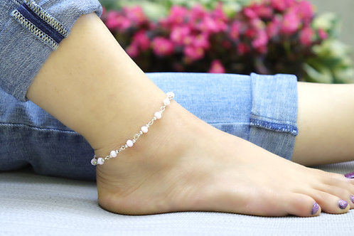Anklet - Light Pink Silver Bead
