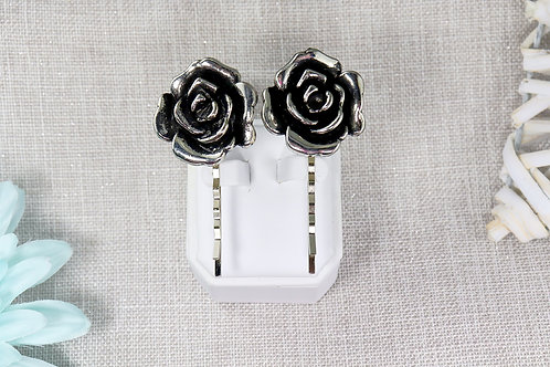 2 PC Hair Pin Set - Antique Silver Rose