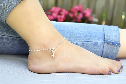 Mouse - Silver Chain Mouse Charm Anklet