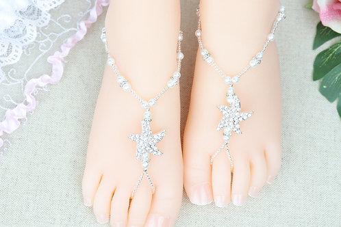 Baby Starlight Silver - Starfish Pearl Rhinestone Sandal