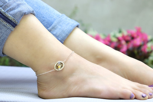 Anklet - Rose Gold Topaz