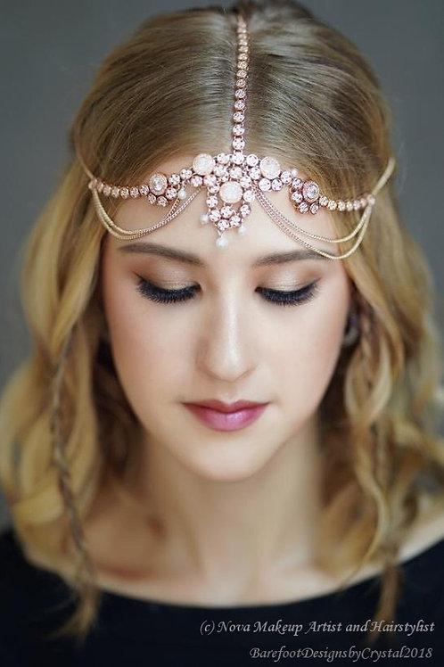 Airmid - Rose Gold Cubic Zirconia Head Chain