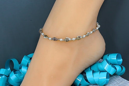 Anklet - Real Shell Pearl Rose Gold