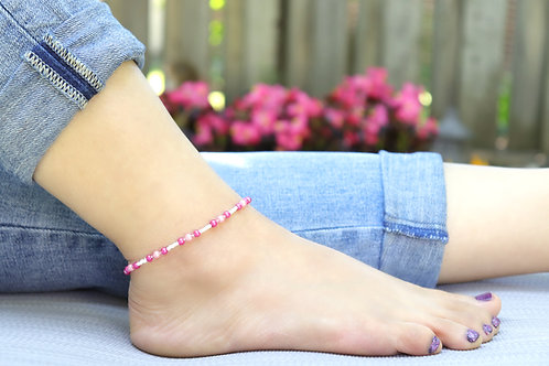 Anklet - Hot Pink Pearl