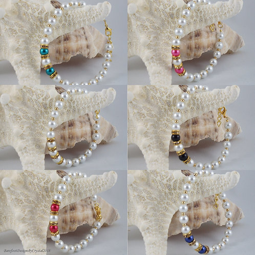 Gold Rhinestone Pearl Bracelet