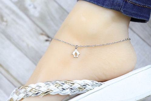 Anklet - Silver Mini Kissing Dolphin Charm