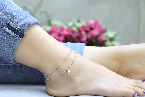 Anklet -  Silver Heart Double Chain