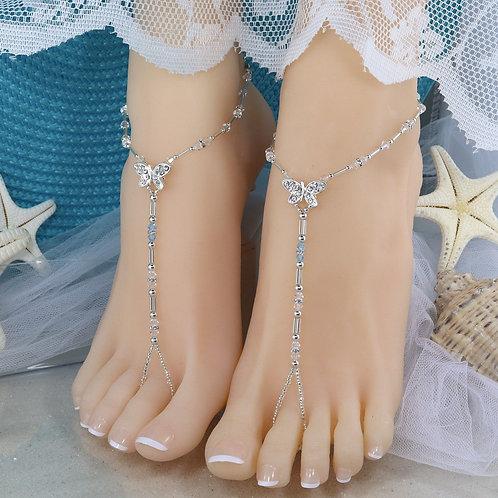 Vanessa - Crystal Bead Butterfly Barefoot Sandal