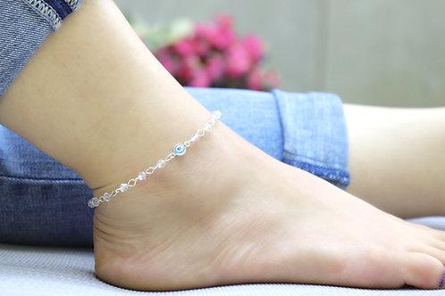 Anklet - Turquoise Evil Eye Crystal Bead