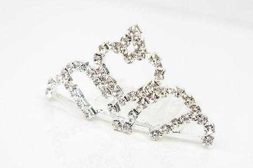 Mini Tiara - Silver Heart Rhinestone
