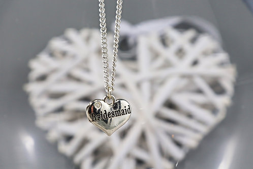 Necklace - Silver Bridesmaid Heart Charm