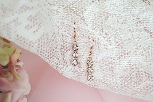 Sasha - Rose Gold CZ Drop Earrings