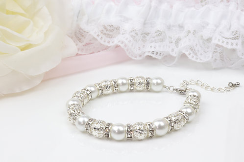 Victoria - Rhinestone Pearl Bracelet