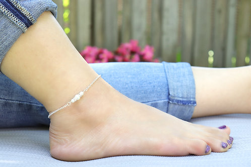 Anklet - Silver Chain with Pearls
