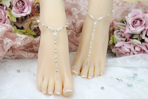 The Oasis - Crystal Bead Pearl Barefoot Sandals
