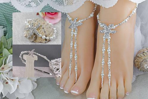 The Ariel Set - Barefoot Sandals, Bracelet & Headband
