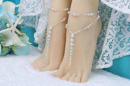 Calista - White Pearl Barefoot Sandal