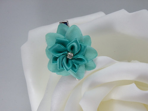 Turquoise (Teal) - Flower Hair Clips 2 PC Set