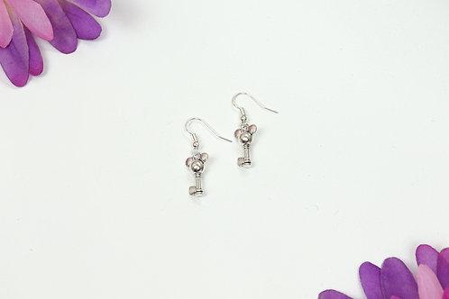 Mouse - Silver Mouse Dangle Earrings
