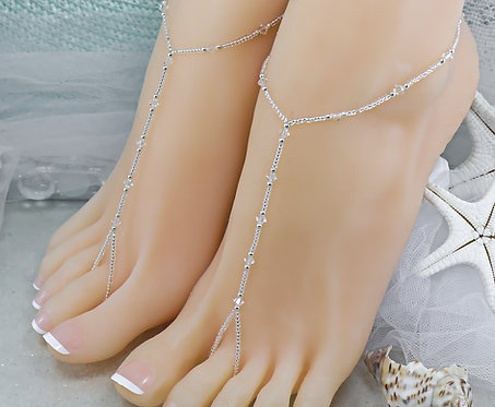 Mina - Silver Swarovski Barefoot Sandal